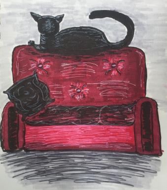 Anti-Social Black Cat Illustration