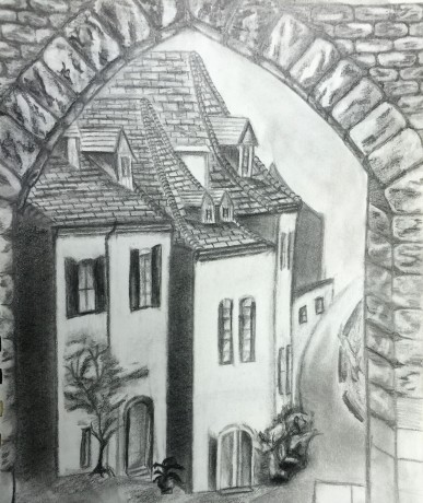 A Street In France Drawing