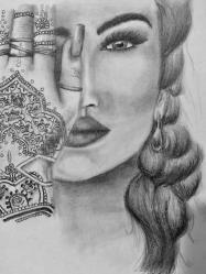 Henna Lady Drawing