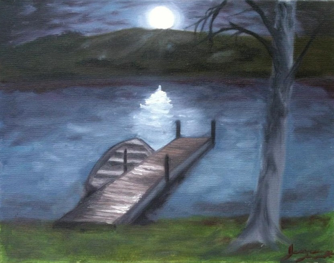 Night scene with a boat dock and the moon.