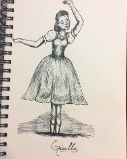 Giselle Ballet Pen and Ink Illustration