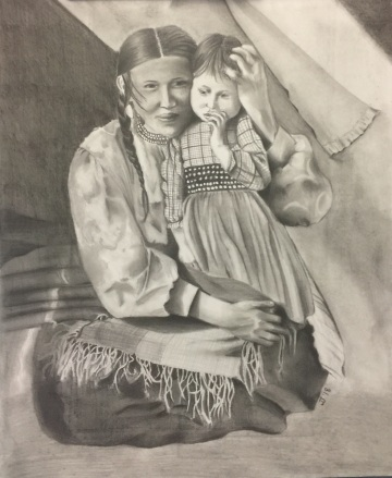 Portrait of a client's spirit guide known as Elk Woman. Graphite and charcoal on cardstock. 2018.